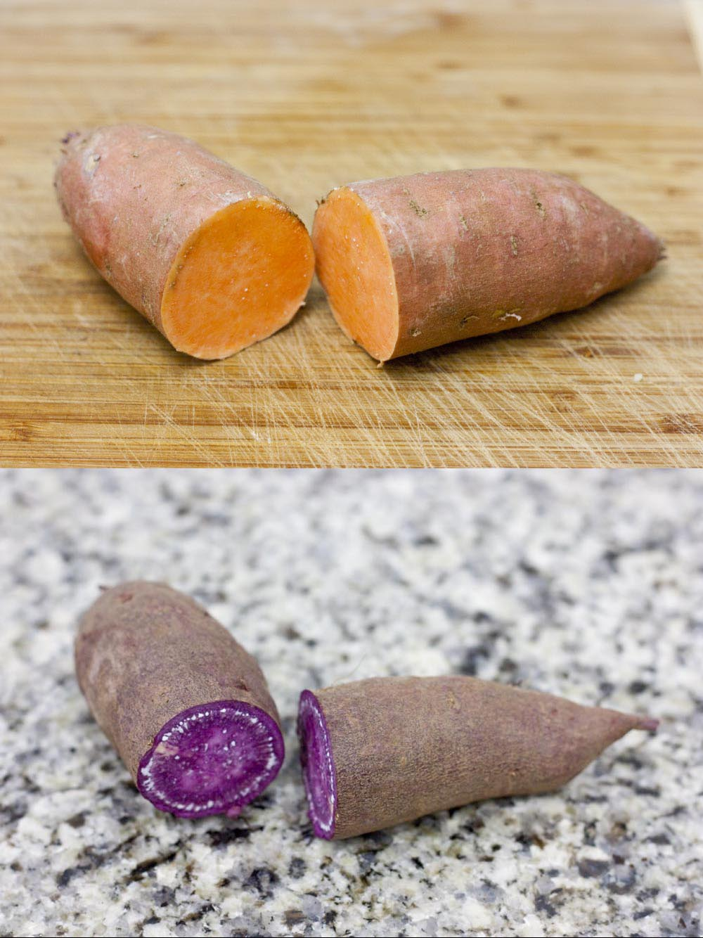 Once sweet potatoes are cut, the differences between the types are obvious.