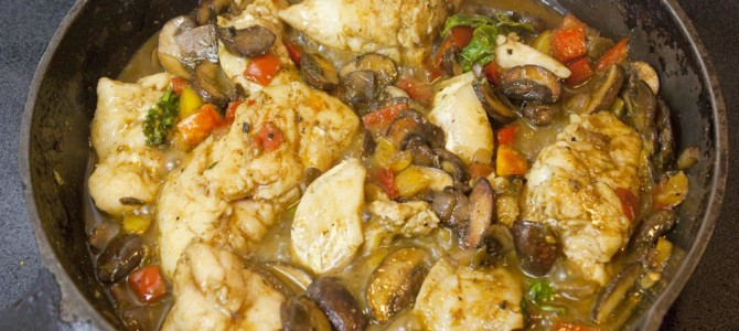 Coconut Curry Grouper Cheeks & Mushrooms