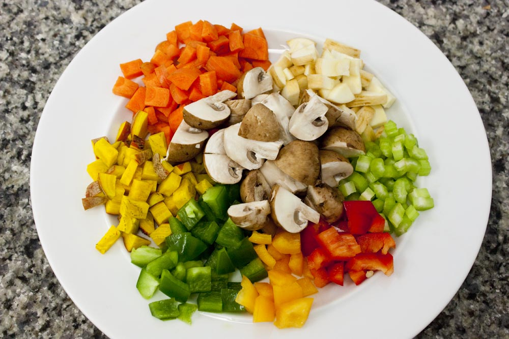 chopped vegetables for grouper cheeks stew recipe
