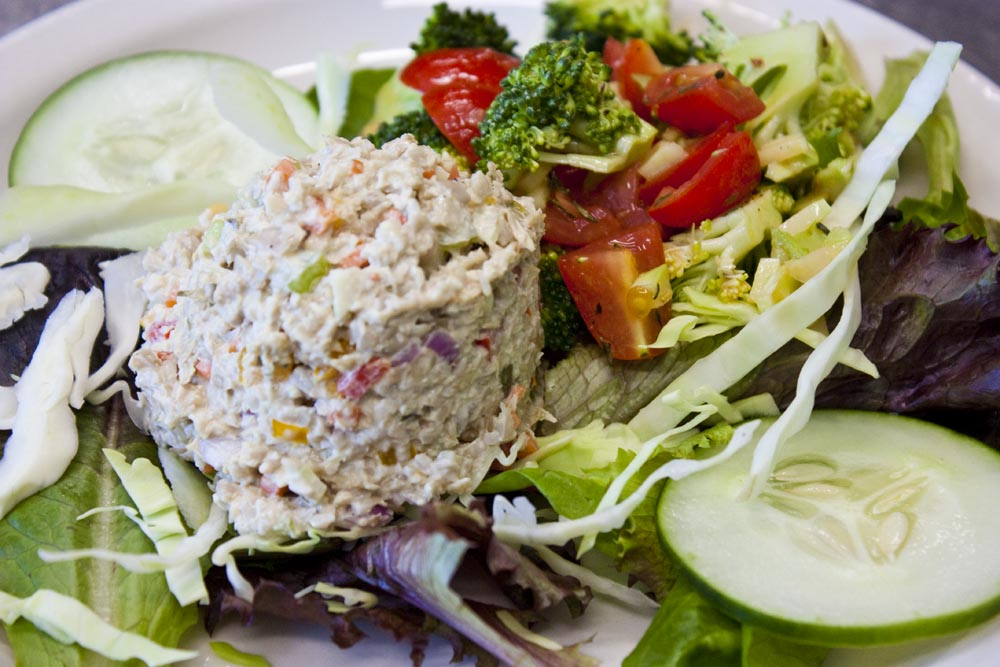Mock tuna salad is vegan and gluten free. Raw sunflower seeds replace ...