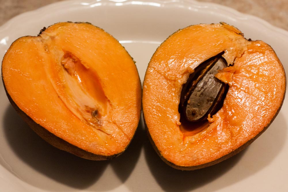 Mamey sapote fruit cut in half